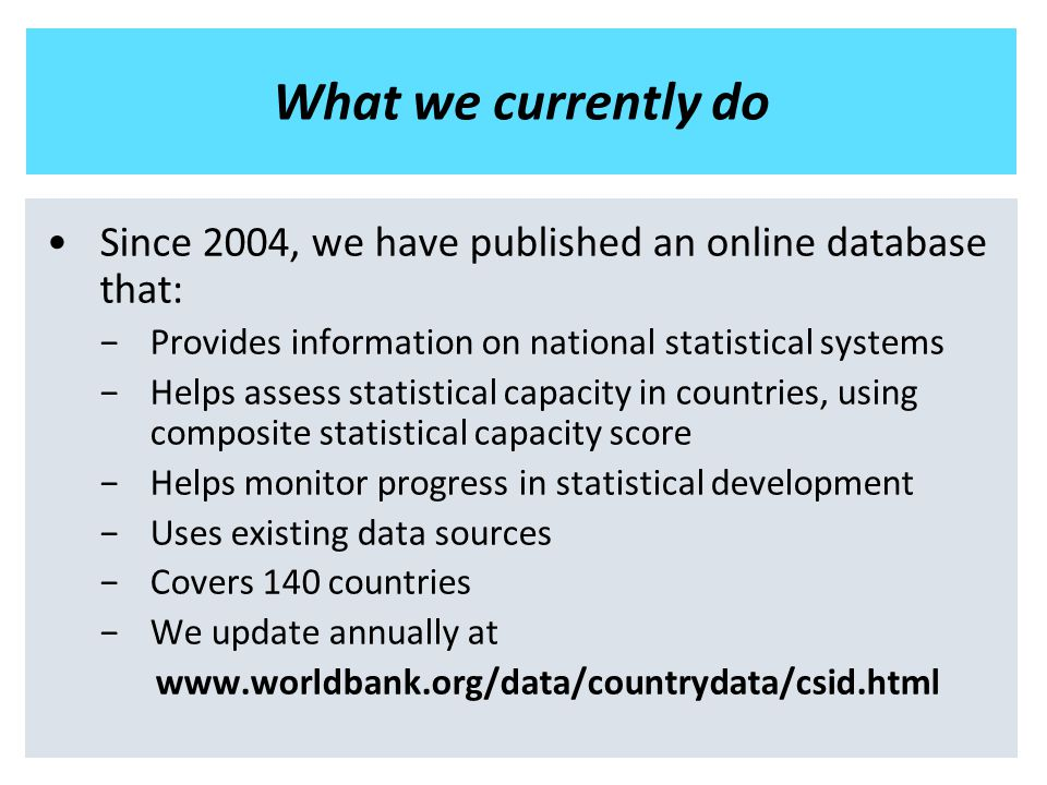 What we currently do Since 2004, we have published an online database that: −Provides information on national statistical systems −Helps assess statistical capacity in countries, using composite statistical capacity score −Helps monitor progress in statistical development −Uses existing data sources −Covers 140 countries −We update annually at www.worldbank.org/data/countrydata/csid.html