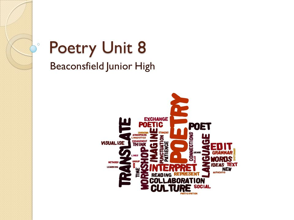 Poetry Unit 8 Beaconsfield Junior High