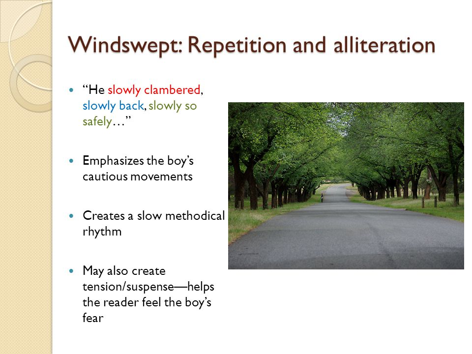 "Windswept: Repetition and alliteration ""He slowly clambered, slowly back, slowly so safely…"" Emphasizes the boy's cautious movements Creates a slow me"