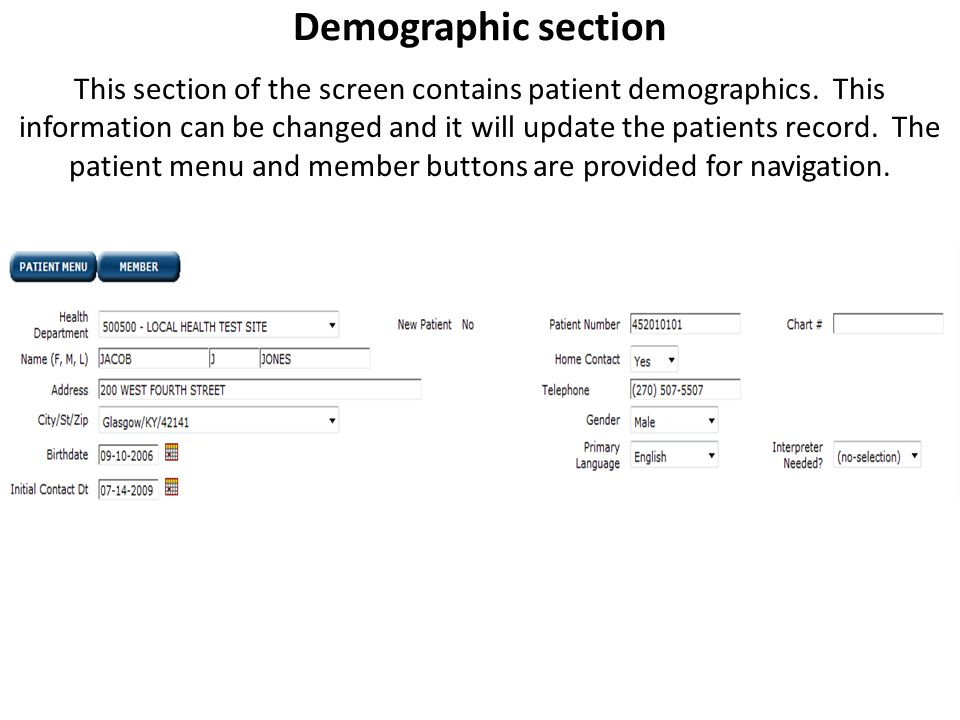 Demographic section This section of the screen contains patient demographics.