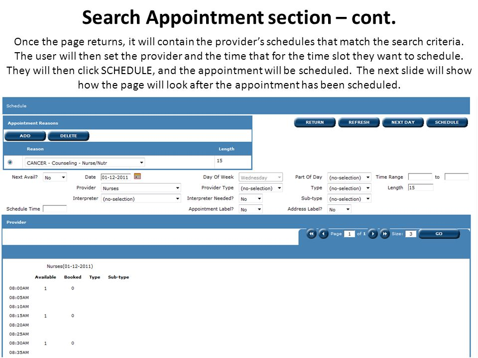 Search Appointment section – cont.
