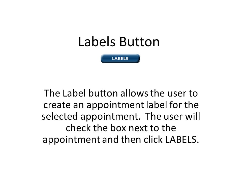 Labels Button The Label button allows the user to create an appointment label for the selected appointment.