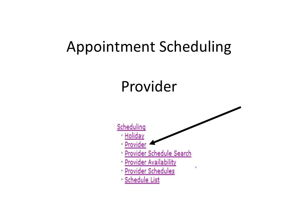 Provider Availability The Provider availability page allows the user to make adjustments to a provider's schedule.
