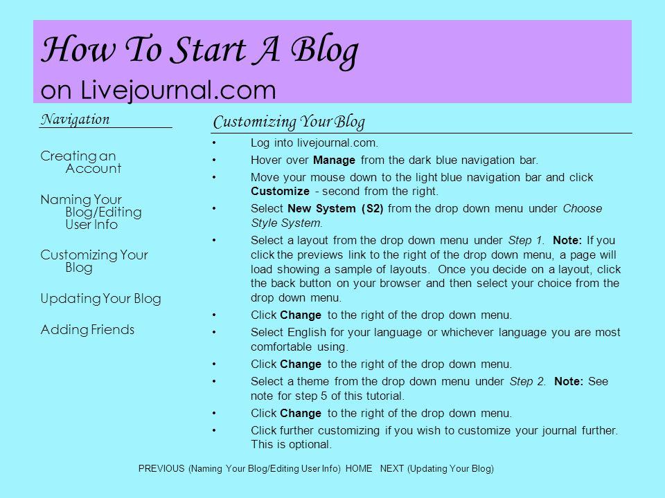 How To Start A Blog on Livejournal.com Navigation Creating an Account Naming Your Blog/Editing User Info Customizing Your Blog Updating Your Blog Adding Friends Updating Your Blog Log into livejournal.com Hover over Journal in the dark blue navigation bar.