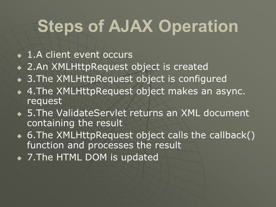 Steps of AJAX Operation   1.A client event occurs   2.An XMLHttpRequest object is created   3.The XMLHttpRequest object is configured   4.The XMLHttpRequest object makes an async.