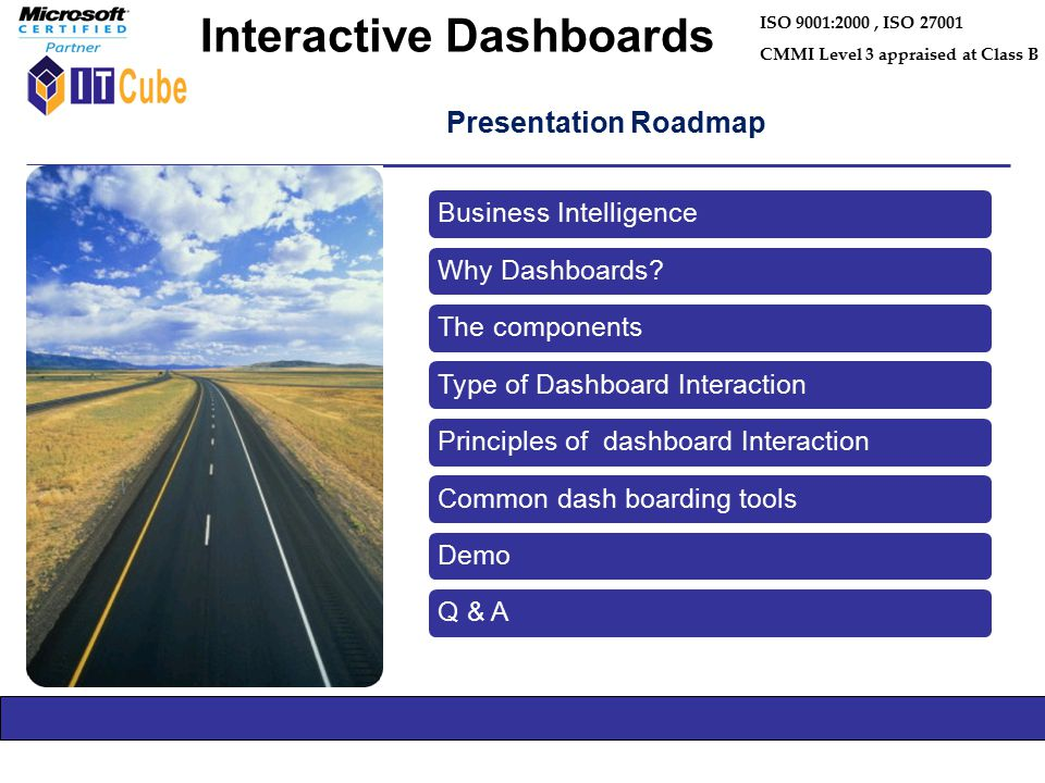 Presentation Roadmap ISO 9001:2000, ISO 27001 CMMI Level 3 appraised at Class B Interactive Dashboards