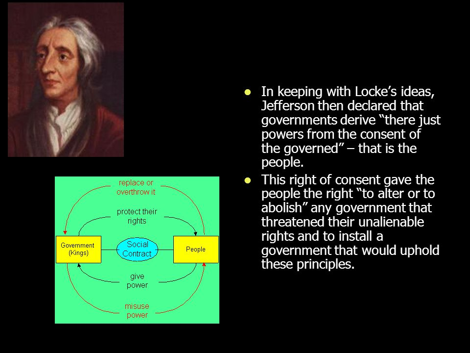 """In keeping with Locke's ideas, Jefferson then declared that governments derive """"there just powers from the consent of the governed"""" – that is the peop"""