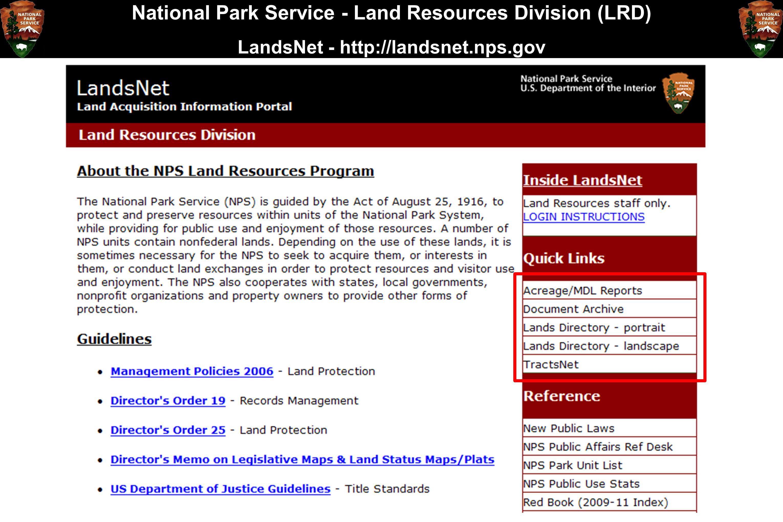 National Park Service - Land Resources Division (LRD) LandsNet - http://landsnet.nps.gov