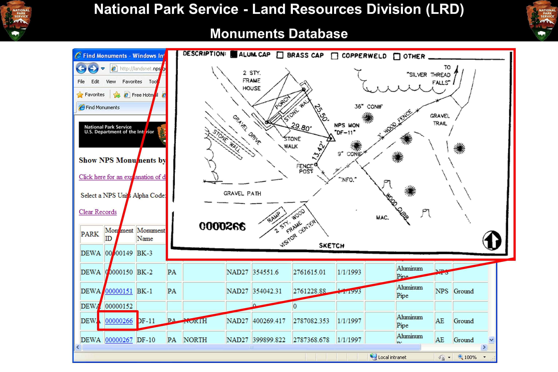 National Park Service - Land Resources Division (LRD) Monuments Database