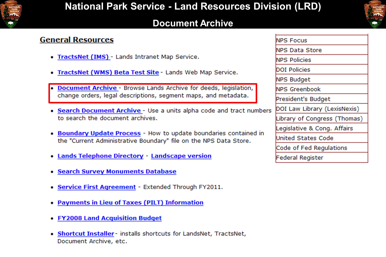 National Park Service - Land Resources Division (LRD) Document Archive