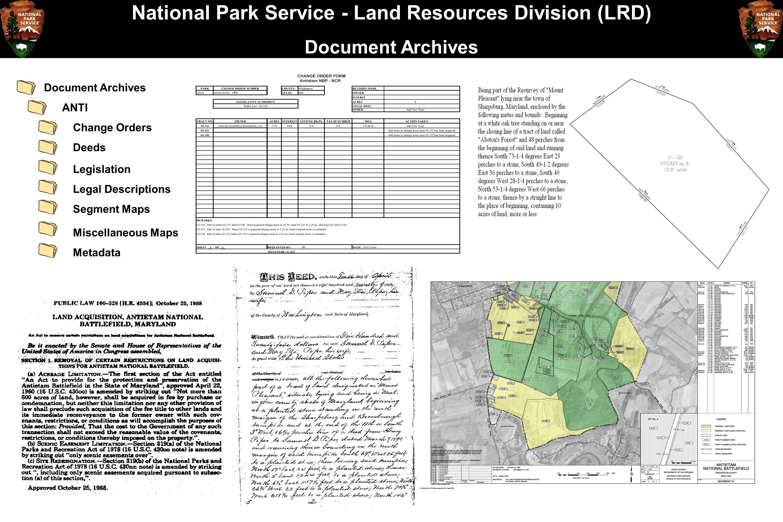 National Park Service - Land Resources Division (LRD) Document Archives ANTI Legislation Legal Descriptions Segment Maps Change Orders Deeds Metadata