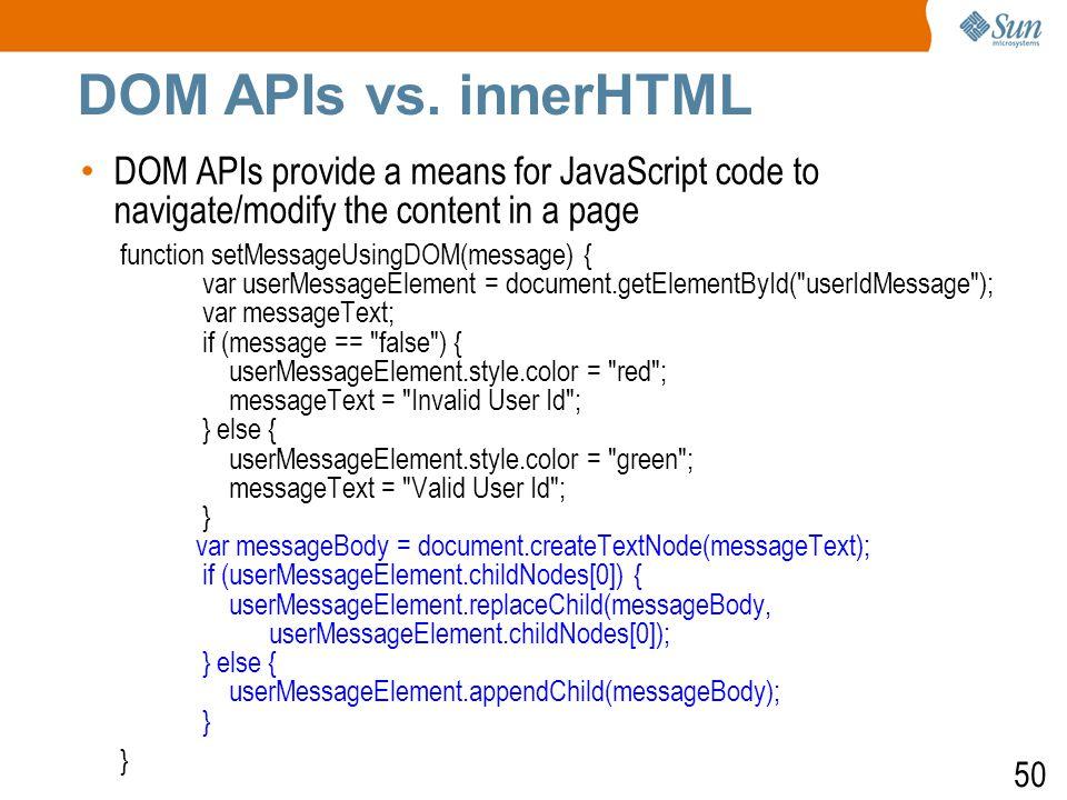 51 DOM APIs vs.