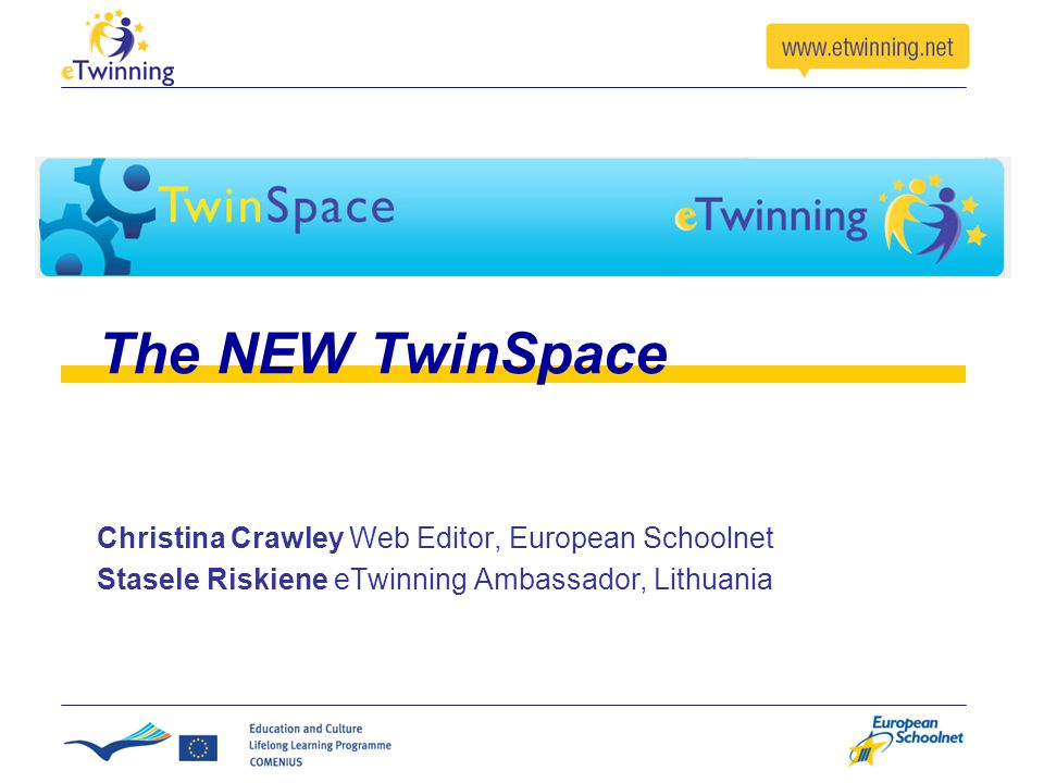 The NEW TwinSpace Christina Crawley Web Editor, European Schoolnet Stasele Riskiene eTwinning Ambassador, Lithuania