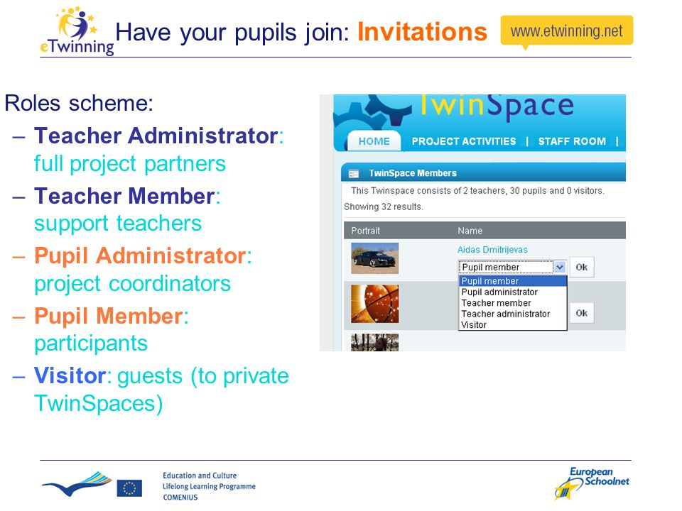 Have your pupils join: Invitations Roles scheme: –Teacher Administrator: full project partners –Teacher Member: support teachers –Pupil Administrator: project coordinators –Pupil Member: participants –Visitor: guests (to private TwinSpaces)