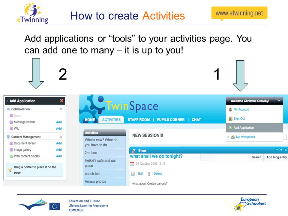How to create Activities Add applications or tools to your activities page.