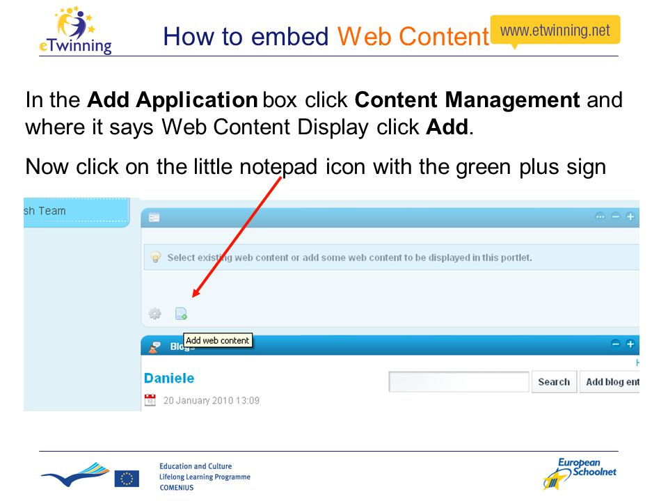 How to embed Web Content In the Add Application box click Content Management and where it says Web Content Display click Add.