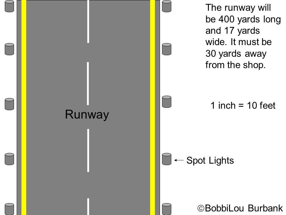 The runway will be 400 yards long and 17 yards wide. It must be 30 yards away from the shop. 1 inch = 10 feet Runway Spot Lights  BobbiLou Burbank
