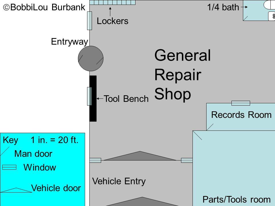 Key1 in. = 20 ft. Man door Window Vehicle door Entryway 1/4 bath General Repair Shop Parts/Tools room Records Room Vehicle Entry Tool Bench Lockers 