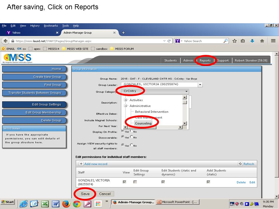 After saving, Click on Reports