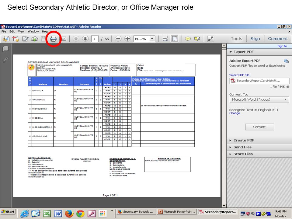Select Secondary Athletic Director, or Office Manager role
