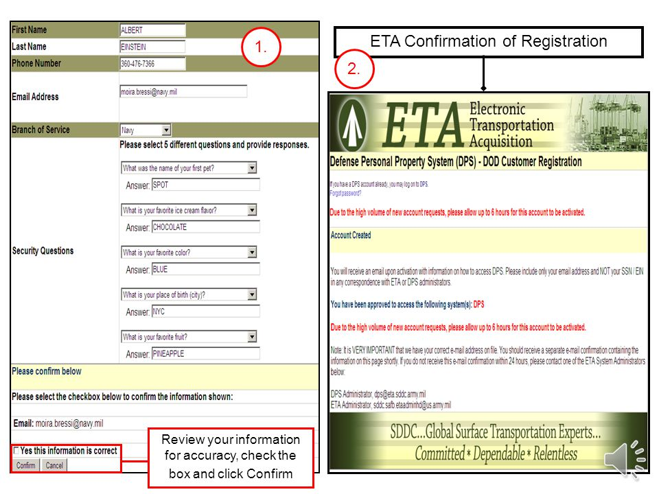 You will be redirected to the ETA site.