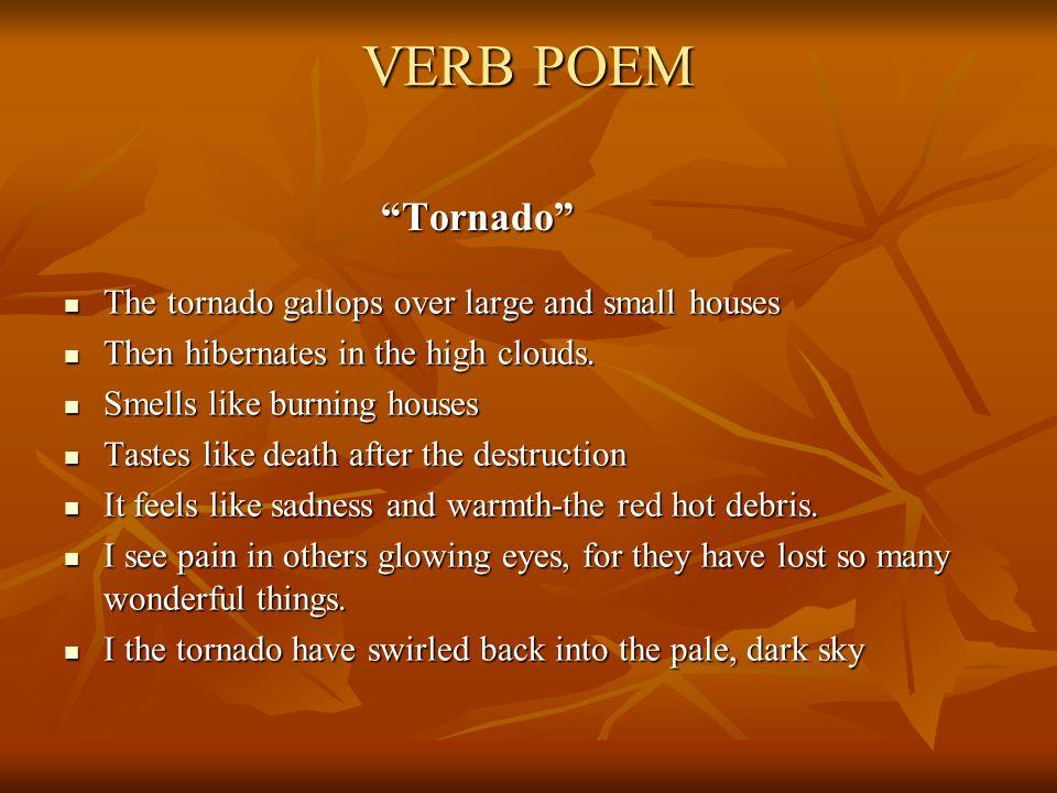 """VERB POEM """"Tornado"""" The tornado gallops over large and small houses The tornado gallops over large and small houses Then hibernates in the high clouds"""