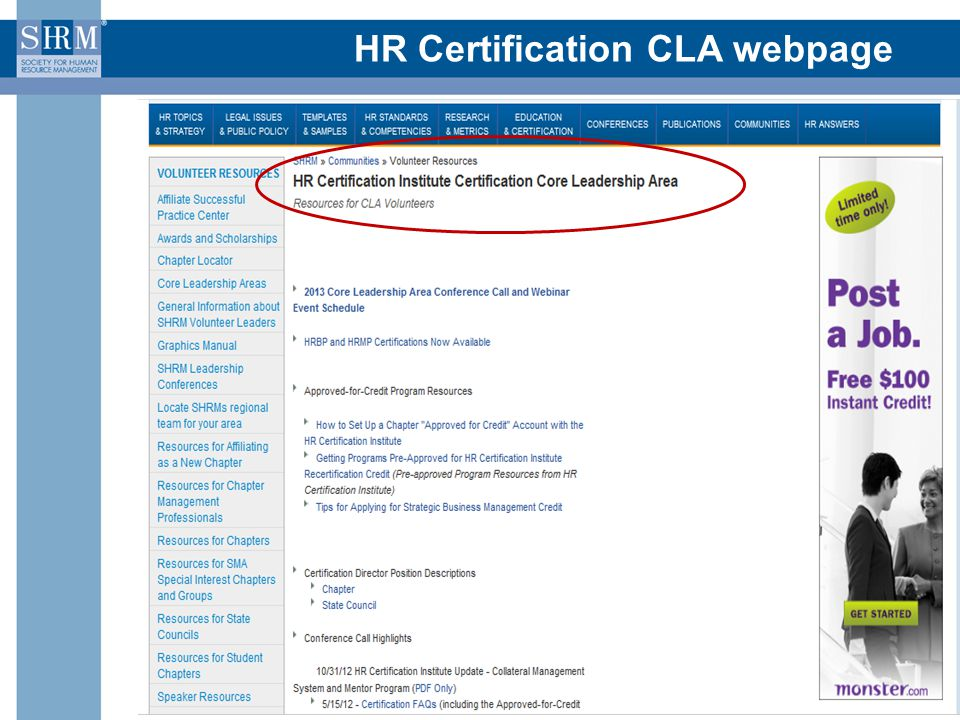 HR Certification CLA webpage