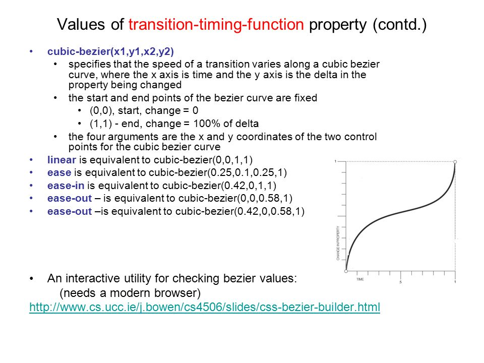 Values of transition-timing-function property (contd.) cubic-bezier(x1,y1,x2,y2) specifies that the speed of a transition varies along a cubic bezier curve, where the x axis is time and the y axis is the delta in the property being changed the start and end points of the bezier curve are fixed (0,0), start, change = 0 (1,1) - end, change = 100% of delta the four arguments are the x and y coordinates of the two control points for the cubic bezier curve linear is equivalent to cubic-bezier(0,0,1,1) ease is equivalent to cubic-bezier(0.25,0.1,0.25,1) ease-in is equivalent to cubic-bezier(0.42,0,1,1) ease-out – is equivalent to cubic-bezier(0,0,0.58,1) ease-out –is equivalent to cubic-bezier(0.42,0,0.58,1) An interactive utility for checking bezier values: (needs a modern browser) http://www.cs.ucc.ie/j.bowen/cs4506/slides/css-bezier-builder.html
