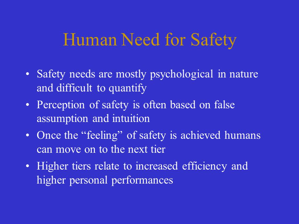 Human Need for Safety Safety needs are mostly psychological in nature and difficult to quantify Perception of safety is often based on false assumptio