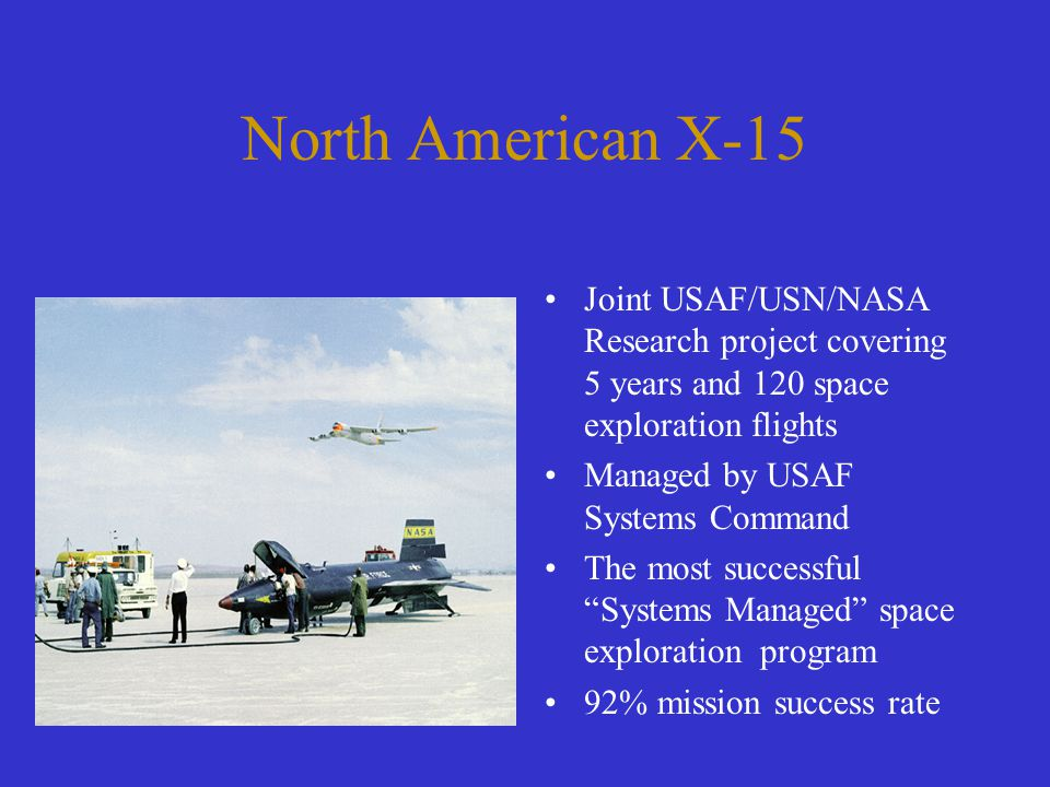North American X-15 Joint USAF/USN/NASA Research project covering 5 years and 120 space exploration flights Managed by USAF Systems Command The most s