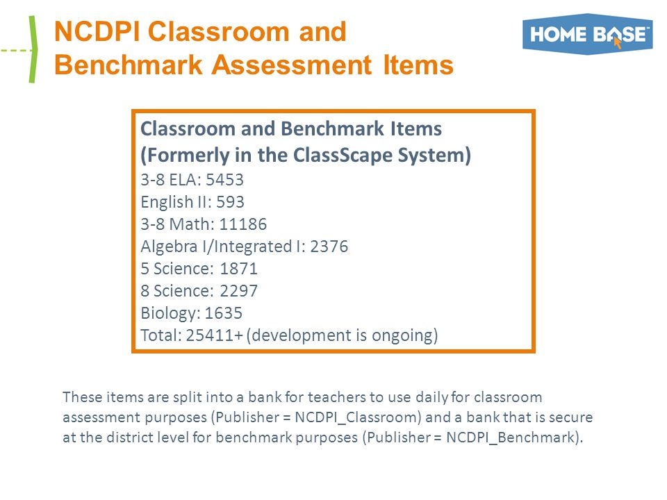 NCDPI Classroom and Benchmark Assessment Items Classroom and Benchmark Items (Formerly in the ClassScape System) 3-8 ELA: 5453 English II: 593 3-8 Math: 11186 Algebra I/Integrated I: 2376 5 Science: 1871 8 Science: 2297 Biology: 1635 Total: 25411+ (development is ongoing) These items are split into a bank for teachers to use daily for classroom assessment purposes (Publisher = NCDPI_Classroom) and a bank that is secure at the district level for benchmark purposes (Publisher = NCDPI_Benchmark).