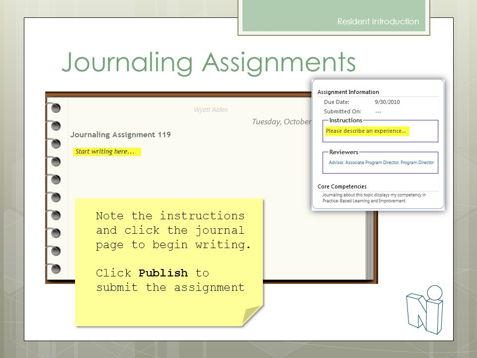 Journaling Assignments Resident Introduction Note the instructions and click the journal page to begin writing.