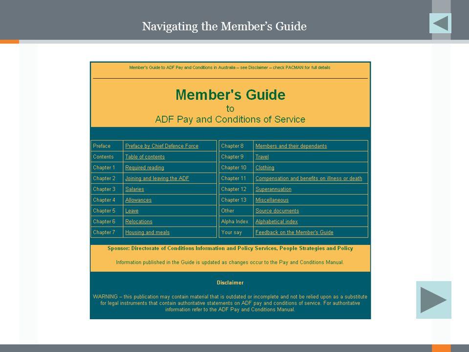 Navigating the Member's Guide