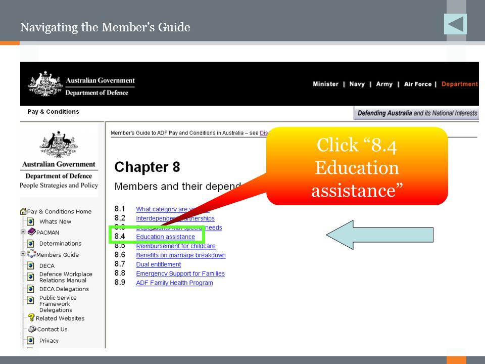 Navigating the Member's Guide Click 8.4 Education assistance