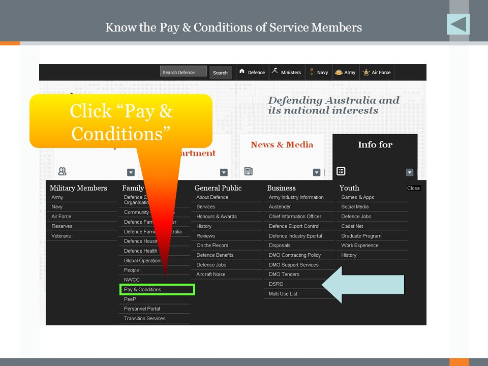 Know the Pay & Conditions of Service Members Now you are at the Pay & Conditions Homepage