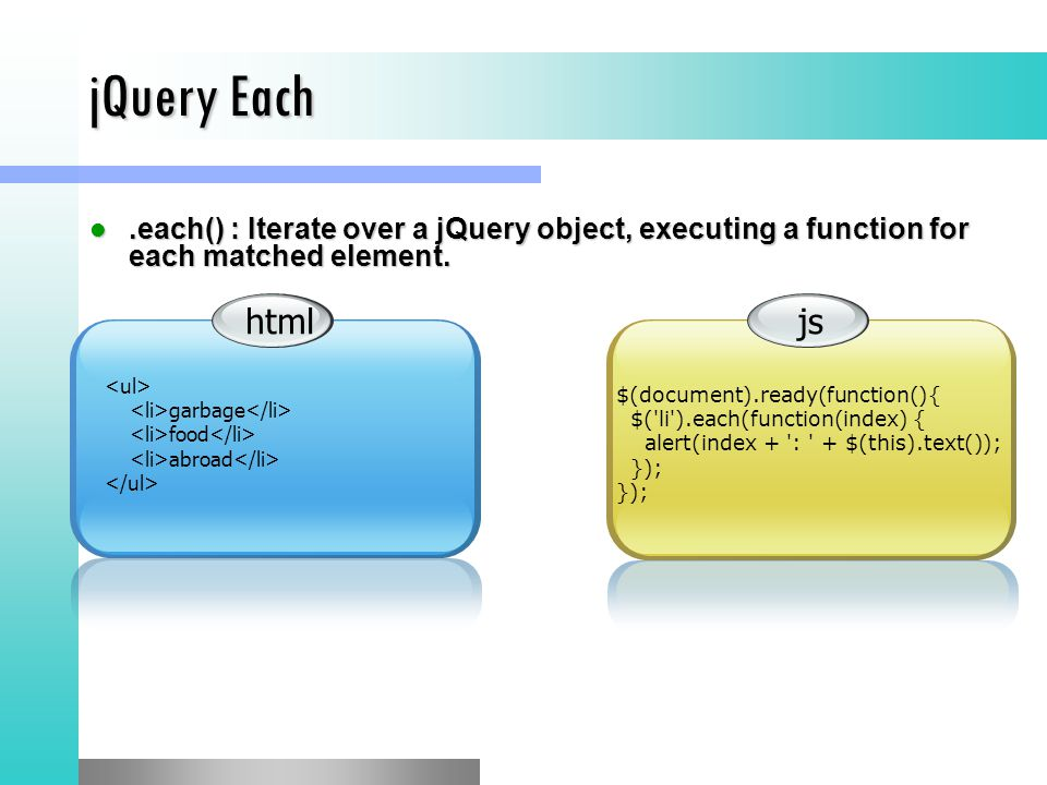 jQuery Each.each() : Iterate over a jQuery object, executing a function for each matched element..each() : Iterate over a jQuery object, executing a f
