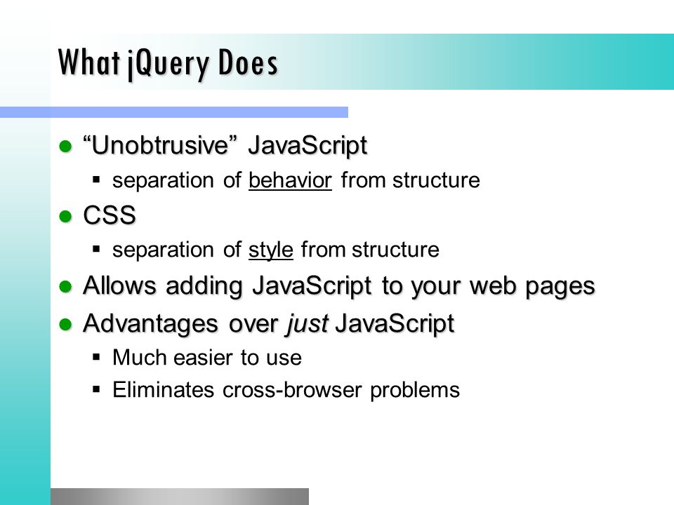 Extending jQuery Creating a jQuery function Creating a jQuery function