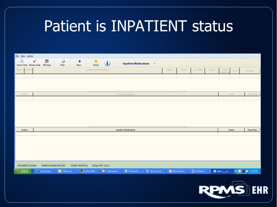 Patient is INPATIENT status