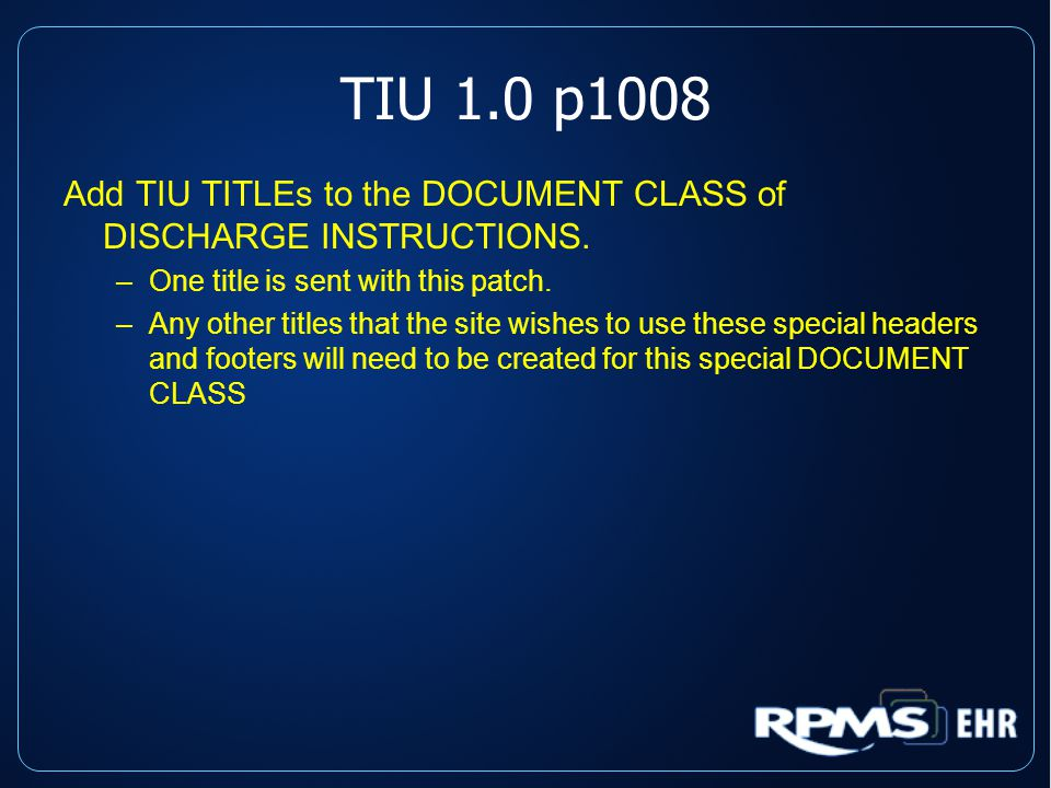 TIU 1.0 p1008 Add TIU TITLEs to the DOCUMENT CLASS of DISCHARGE INSTRUCTIONS.