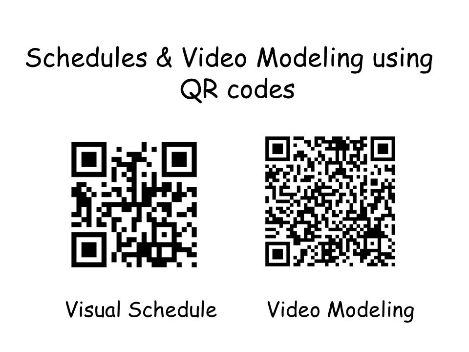 Schedules & Video Modeling using QR codes Visual Schedule Video Modeling