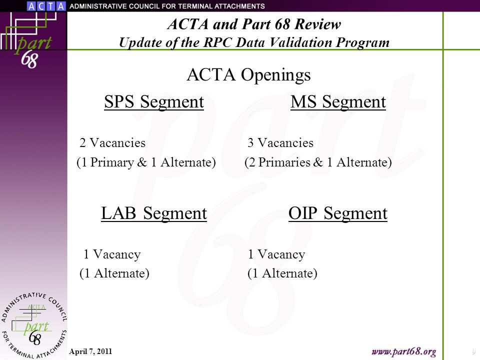 ACTA SPS Segment 2 Vacancies (1 Primary & 1 Alternate) LAB Segment 1 Vacancy (1 Alternate) Openings MS Segment 3 Vacancies (2 Primaries & 1 Alternate) OIP Segment 1 Vacancy (1 Alternate) April 7, 20119 ACTA and Part 68 Review Update of the RPC Data Validation Program