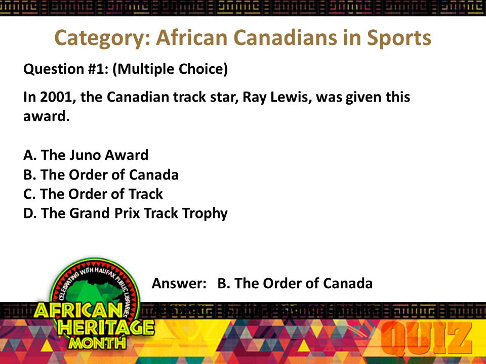 Category #2 African Canadians In Sports