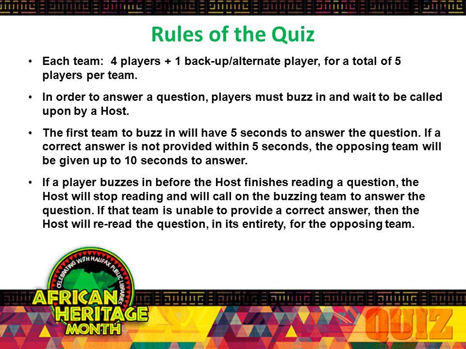 African Heritage Youth Quiz 2015 Practice Quiz