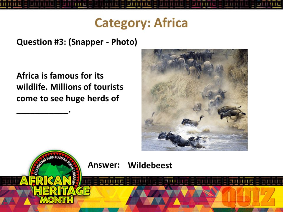 Category: Africa Question #2: (Snapper) Answer: Mostly in the northern regions, Muslims practice the religion of ___________.