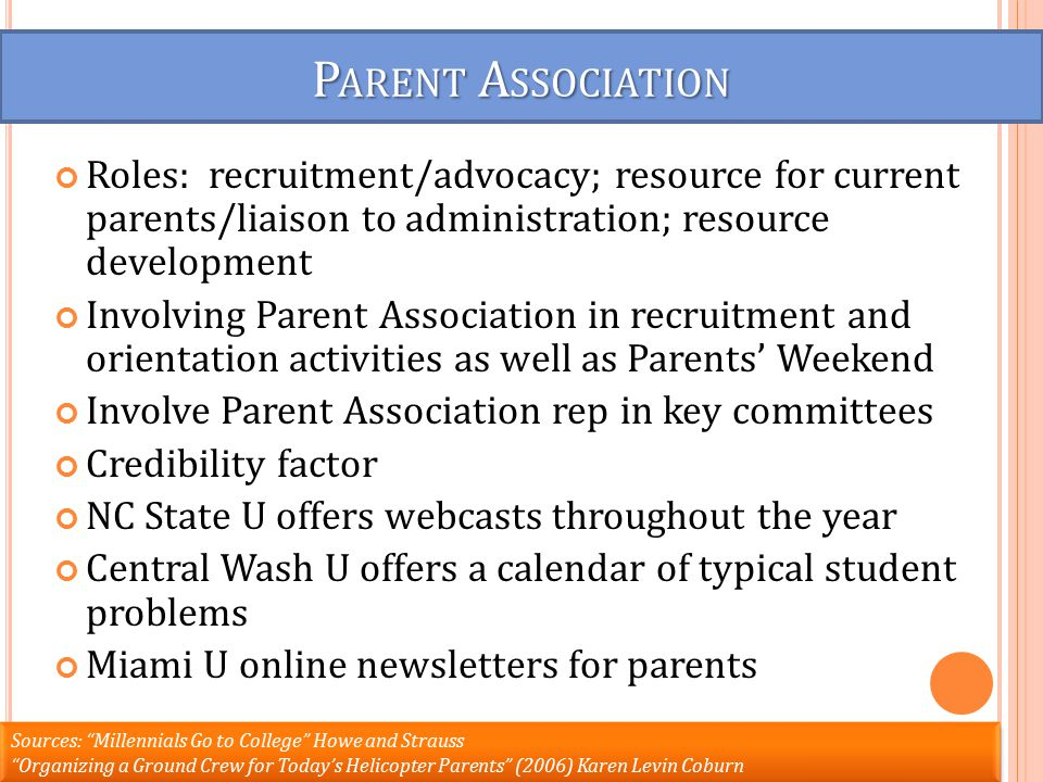 P ARENT A SSOCIATION Roles: recruitment/advocacy; resource for current parents/liaison to administration; resource development Involving Parent Association in recruitment and orientation activities as well as Parents' Weekend Involve Parent Association rep in key committees Credibility factor NC State U offers webcasts throughout the year Central Wash U offers a calendar of typical student problems Miami U online newsletters for parents Sources: Millennials Go to College Howe and Strauss Organizing a Ground Crew for Today's Helicopter Parents (2006) Karen Levin Coburn Sources: Millennials Go to College Howe and Strauss Organizing a Ground Crew for Today's Helicopter Parents (2006) Karen Levin Coburn