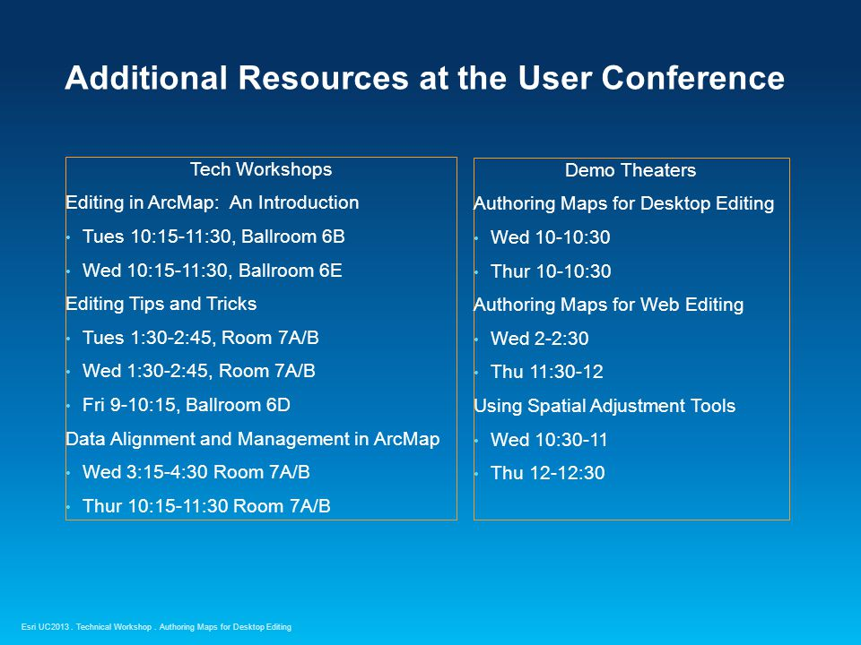 Esri UC2013. Technical Workshop. Additional Resources at the User Conference Tech Workshops Editing in ArcMap: An Introduction Tues 10:15-11:30, Ballr