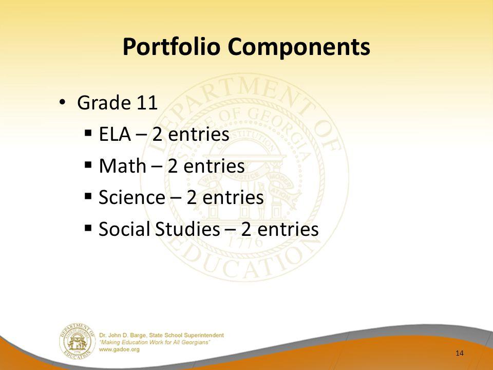 Portfolio Components Grade 11  ELA – 2 entries  Math – 2 entries  Science – 2 entries  Social Studies – 2 entries 14