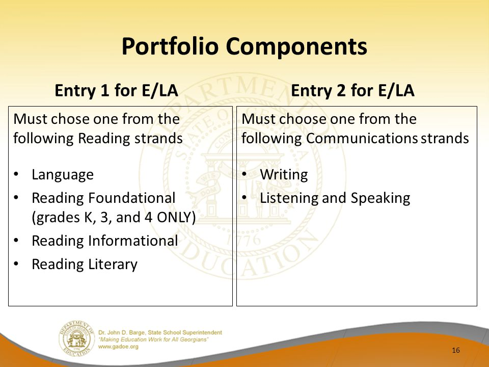 Portfolio Components Entry 1 for E/LA Must chose one from the following Reading strands Language Reading Foundational (grades K, 3, and 4 ONLY) Reading Informational Reading Literary Entry 2 for E/LA Must choose one from the following Communications strands Writing Listening and Speaking 16