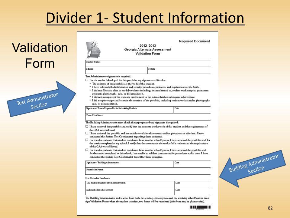 Divider 1- Student Information 82 Validation Form Test Administrator Section Building Administrator Section