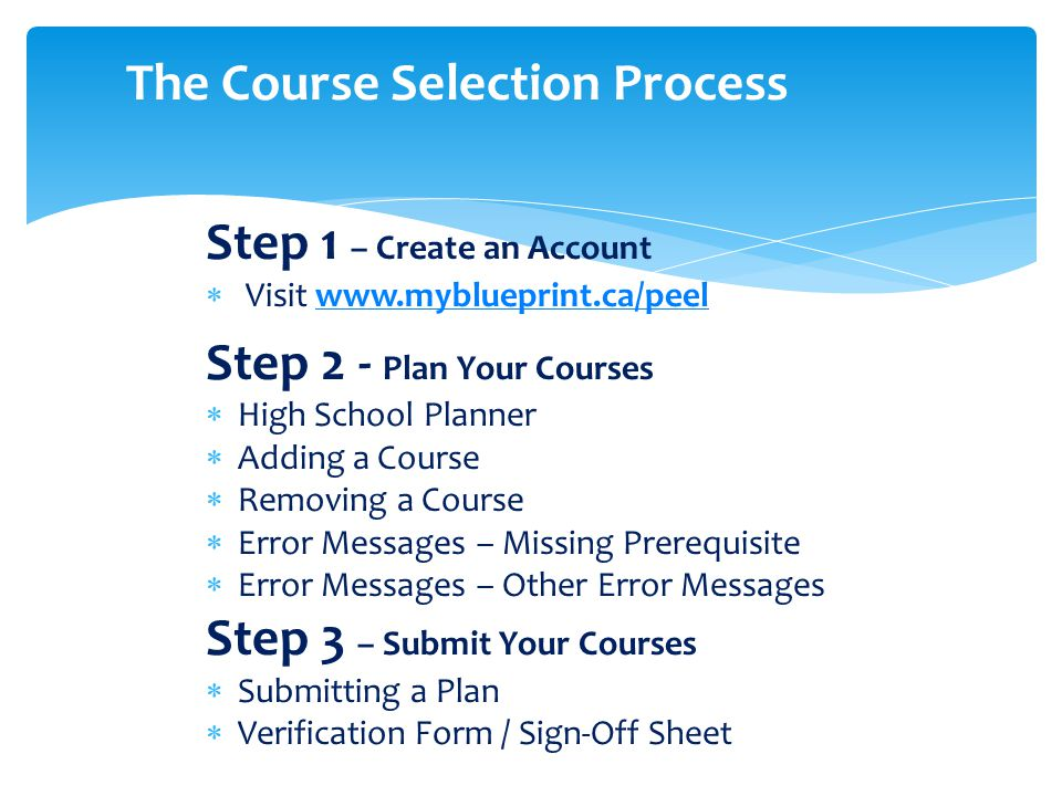 Step 1 – Create an Account  Visit www.myblueprint.ca/peelwww.myblueprint.ca/peel Step 2 - Plan Your Courses  High School Planner  Adding a Course  Removing a Course  Error Messages – Missing Prerequisite  Error Messages – Other Error Messages Step 3 – Submit Your Courses  Submitting a Plan  Verification Form / Sign-Off Sheet The Course Selection Process